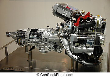 Engine power - Close-up shot of an automobile engine on...