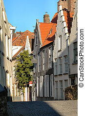 Belgian Street - Typical street, buildings, red tile roofs...