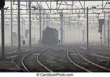 trem, em, nevoeiro