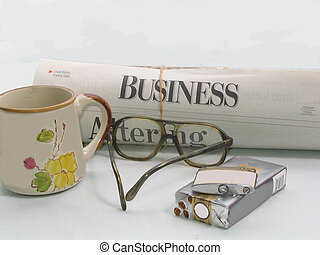 Staring morning off - , common items a businessperson would...
