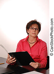 woman reviewing report 2085 - reviewing the report 2085