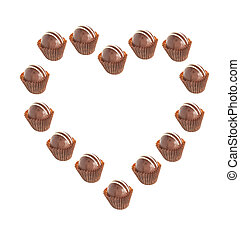 Heart - Herz - Heart shaped out of Pralines on white...