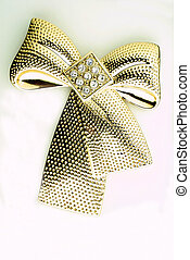 Gold brooch - goldene Brosche - golden ribbon brooch on...