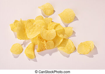 Potatoe Chips - Kartoffelchips - Potatoe Chips on white...