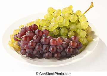 Grapes - Weintrauben - green and red Grapes on a white Plate...