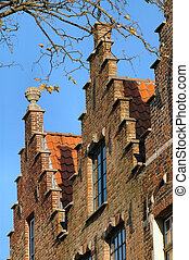 Belgian Rooftops - Typical brick houses and red tile roofs...