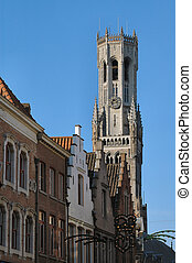 Church Steeple - Church steeple, clock & rooftops in...