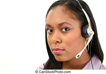 Customer Sevice - Beautiful African American woman with...
