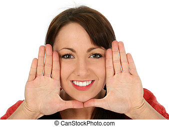 Woman Face Hands - Beautiful young woman framing face with...