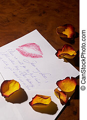 love letter - Liebesbrief - love letter with yellow-red rose...