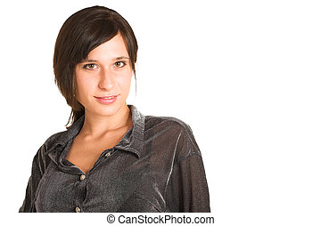 People #25 - Woman dressed in a smart shirt.  Copy space