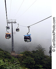 Gondolas In The Mist - Cable cars traveling in the mist at...