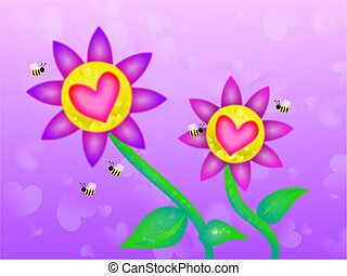 dreamy heart flowers - dreamy flowers with love hearts in...