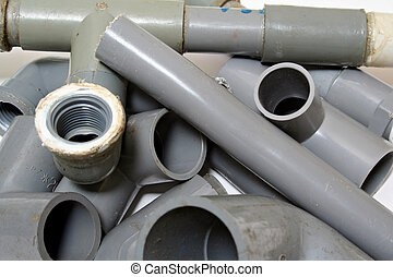 Piping Joints - An assortment of PVC piping joints.