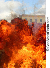 Explosion fire during a stunt show
