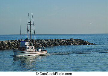 fishing boat coming into Santa Cruz harbor - fiashing boat...