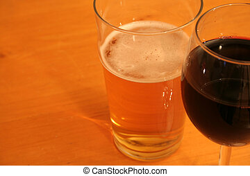 Beer and Red Wine - A pint of beer and a glass of red wine...