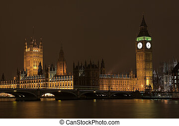 Big Ben #3 - Big Ben at night across the Thames river