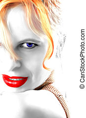 lipstick and eyes - beautiful glamorous redhead illustration...