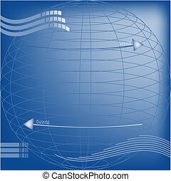 Technical background - Illustration of blue technical...