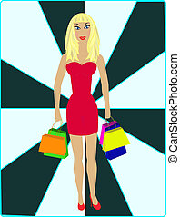 Sexy blond - shopping - Sexy blond in red dress with...