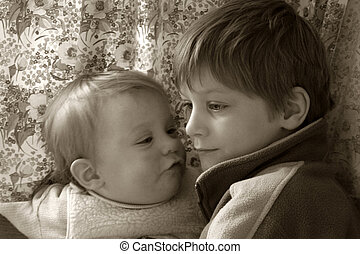 Little children - Brother and sister in sepia
