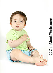 Baby Tears - Young baby wearing casual top and shorts sheds...