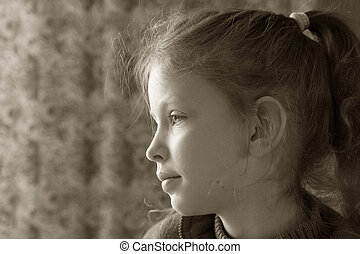 Young girl - A portrait of young girl in sepia
