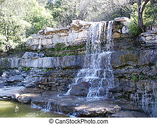 Austin Waterfall - A waterfall at Zilker Park in Austin,...