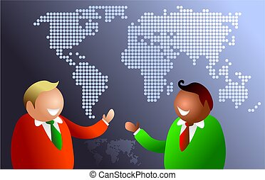 world communications - businessmen from different areas of...