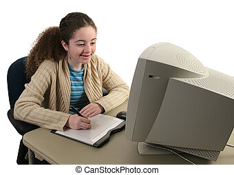 Teen Girl & Graphics Tablet - A teen girl smiling and...