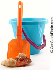 Summer at the Beach - Child\'s Bucket, spade and shell...