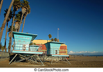 Liferguard Stations - Lifeguard huts at the boardwalk in...