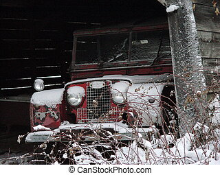 Winter Landrover - Classic Landrover jeep snowblown in...