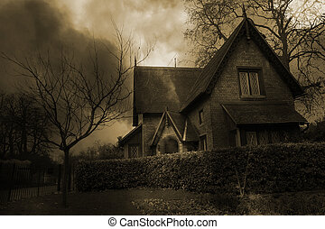 Haunted House 2 - Haunted house in London, Sepia Tone -...