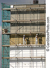 Workers on a scaffold