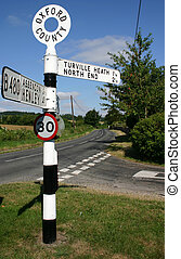 English road sign - Old fashioned road sign in rural...