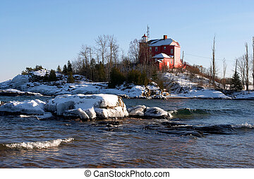 Lighthouse in Winter - Michigan\\\'s Marquette Harbor...