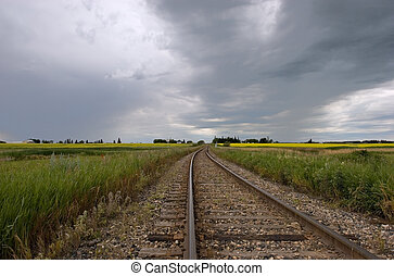 Railroad Tracks - Railroad tracks and heavy clouds