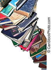 Libros, en, Un, Pila