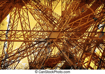 Grunge Eiffel Tower - Grunge abstract of the Eiffel Tower,...