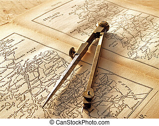 Dividers on an old map