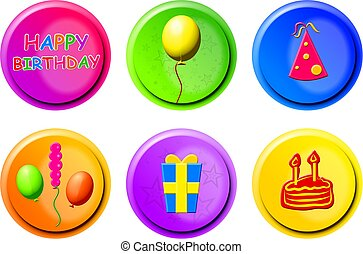 birthday buttons - collection of birthday icons