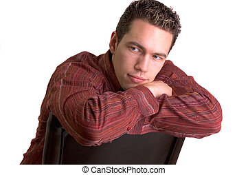 Casual Young Man - Young Man Relaxing On A Leather Chair
