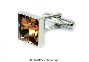 Cuff link with brown crystal
