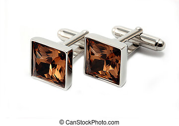 Cuff links - Pair of cuff links with brown crystal