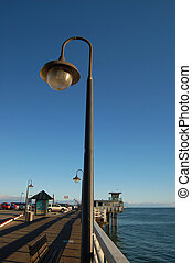 Santa Cruz Pier - Lightpost on a pier in Santa Cruz,...
