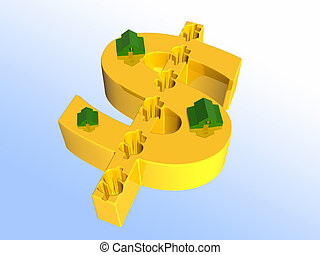 Houses on dollar sign - Houses on golden dollar sign 3D...