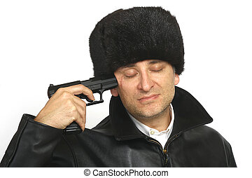 The End - A Russian man holds a gun to his head