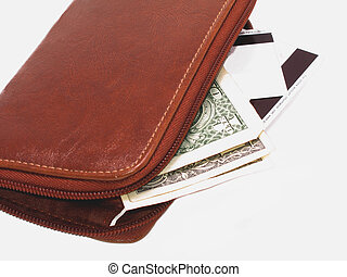 Wallet - Leather wallet with money and credit cards